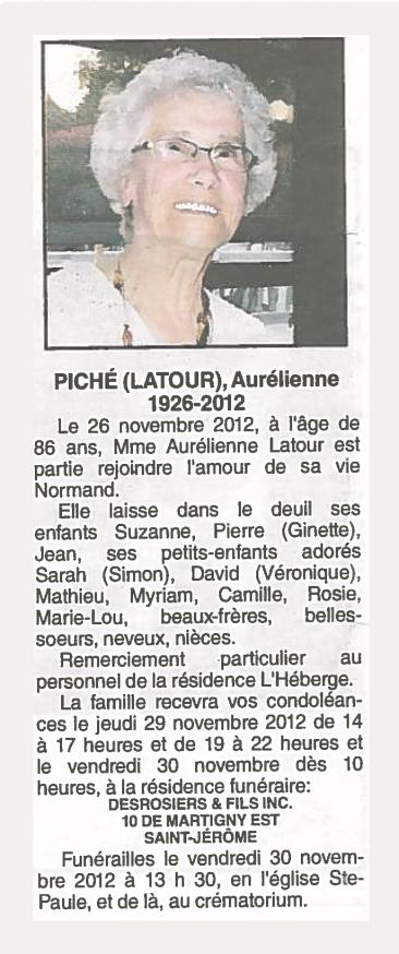 avis de décès Aurélienne Latour