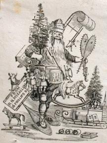 toboggan-carrying-santa-claus-wears-snowshoes