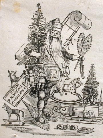 toboggan-carrying-santa-claus-wears-snowshoes