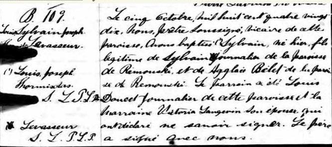 B. Hormidas Levasseur naissance 4 octobre 1890