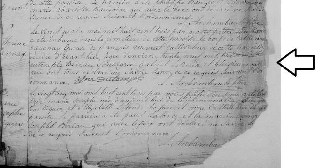 1803 décès Catherine Dagenais 22 mai 1803 zoom