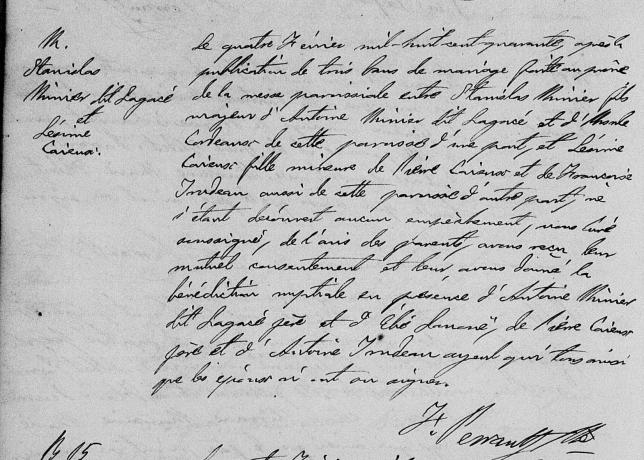 1840 mariage Stanislas et Onésime