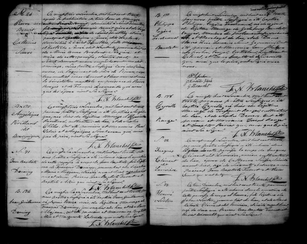 23 novembre 1830 Pierre Benoit et Catherine Sauvé dit Laplante