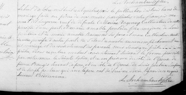 8 octobre 1804 mariage François Menuet zoom