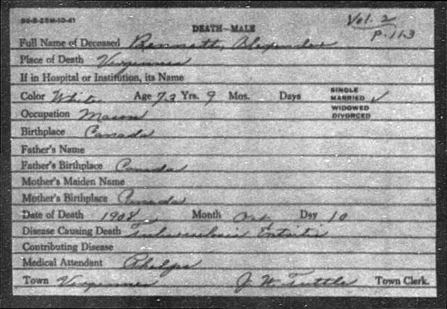 Alexander Bennett death certificate 10 October 1908