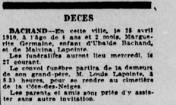 Germaine Bachand décès