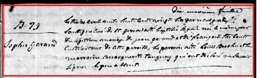 Sophie Garand 13 avril 1826
