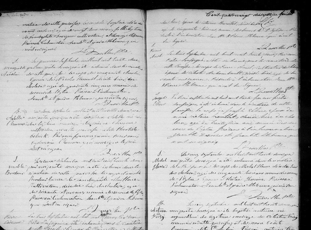 1832 décès Pierre Cadieux 53 ans