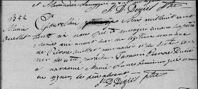 baptême Marie Ouellet 1836