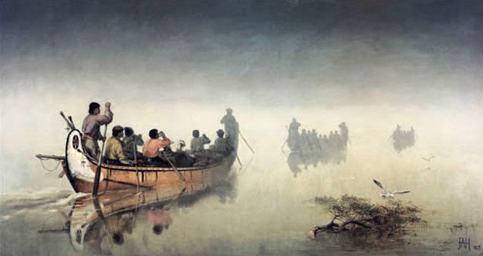 Frances Anne Hopkins, Canoes in a Fog, Lake Superior, 1869, Glenbow Museum, Calgary