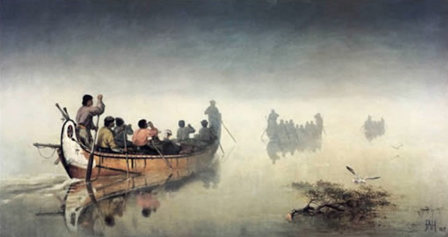 Frances Anne Hopkins, Canoes in a Fog, Lake Superior, 1869, Glenbow Museum, Calgary