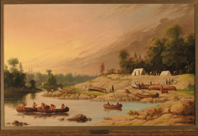 Encampment, River Winnipeg, Saulteaux and Voyageurs (dated 1849-1856, ROM 912.1.19). Source: Royal Ontario Museum. ©ROM
